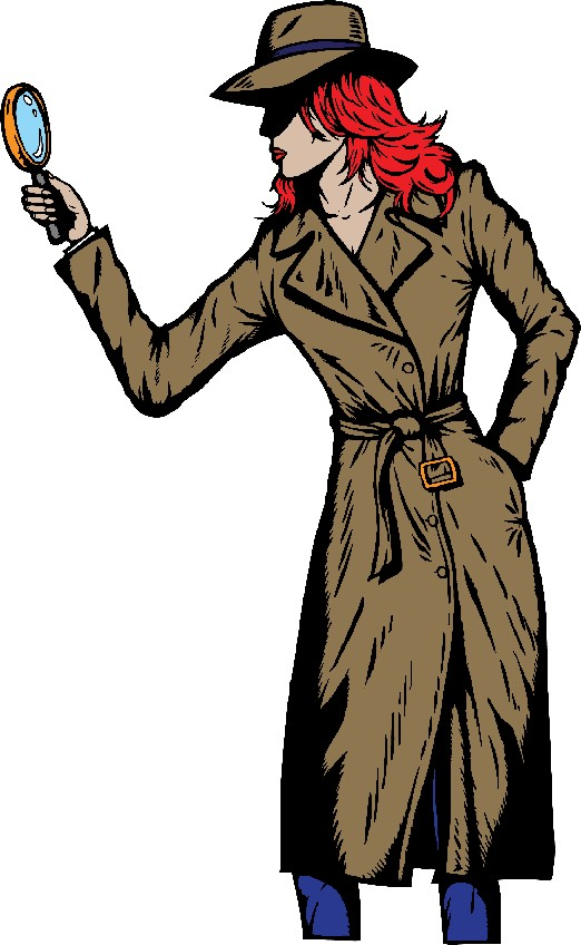 Woman Cartoon Detective small file size